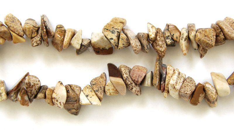 Sekané korálky ,,chipsy,, z přírodního obrázkového jaspisu