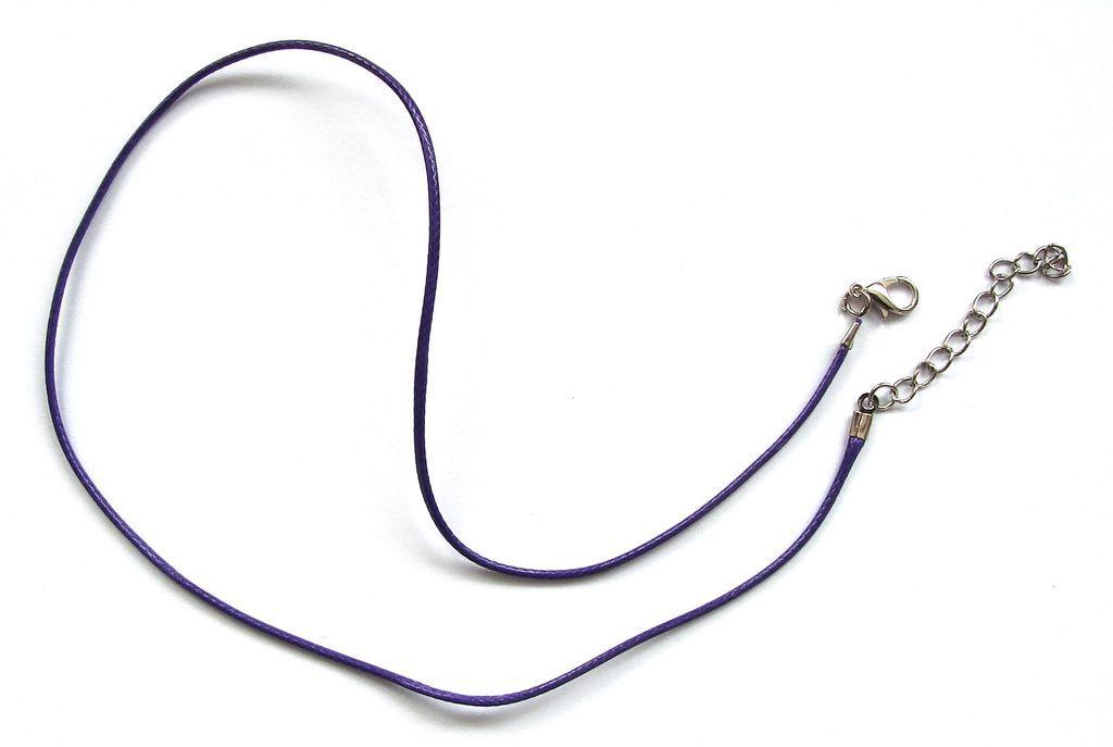 Splétaná šňůrka s karabinkou a řetízkem - fialová