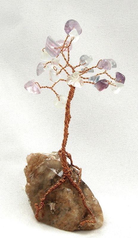 Stromeček štěstí z fluoritu a křišťálu 1