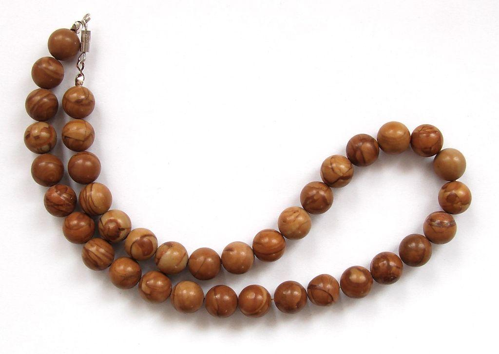 Náhrdelník z kuliček dřevitého jaspisu (1)