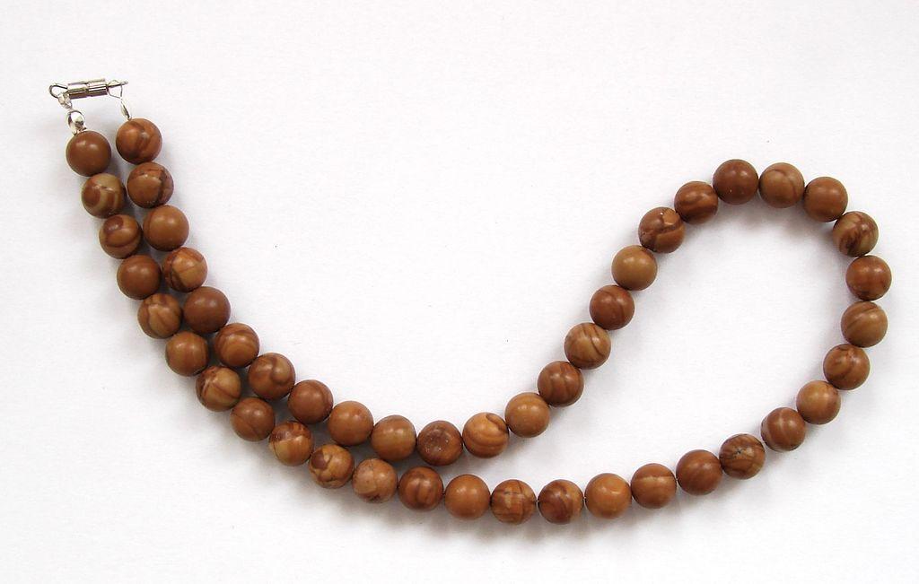 Náhrdelník z kuliček dřevitého jaspisu (2)