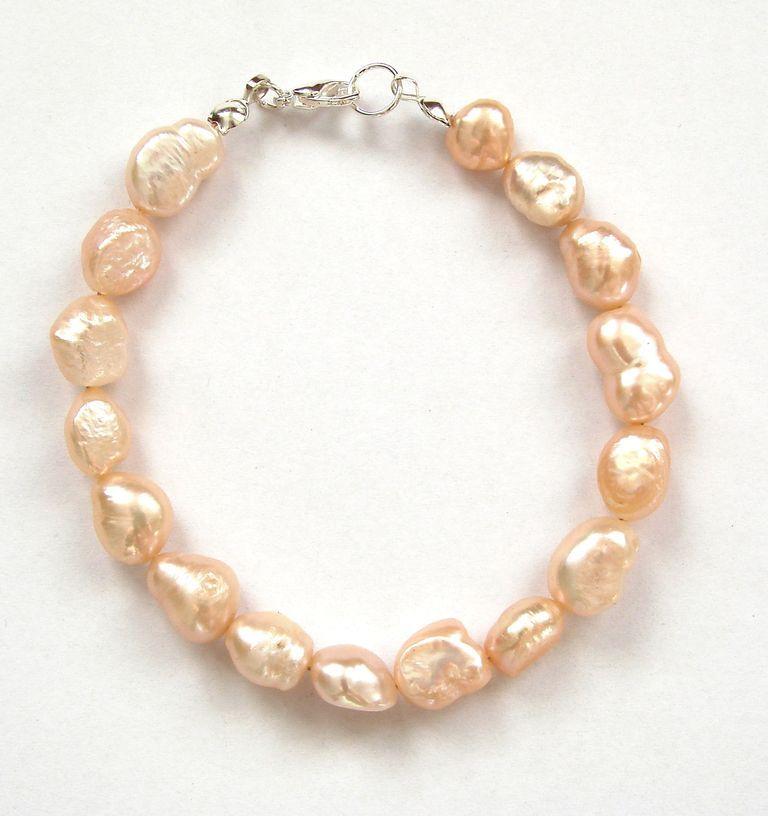 Náramek  perly barokové bílé (4)