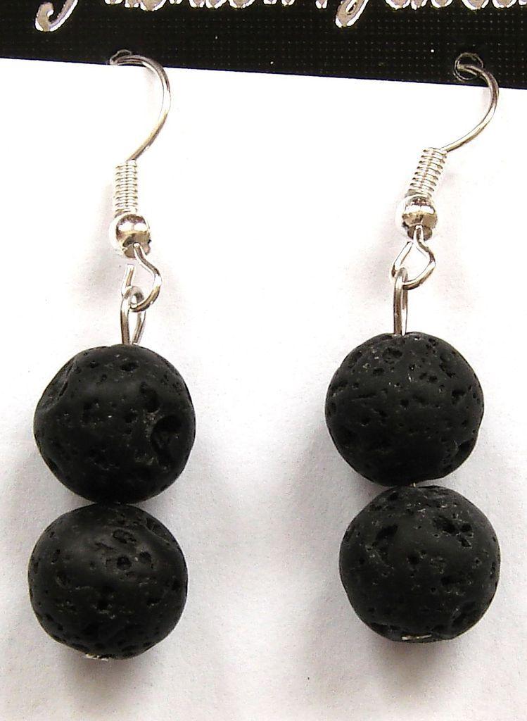 Náušnice - lávový kámen - kuličky (7)