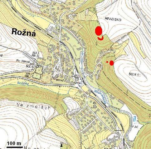 Mapka umístnění pegmatitových lokalit v Rožné