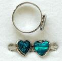 Prsten PAUA mušle (1), srdce - univerzální velikost 1 kus