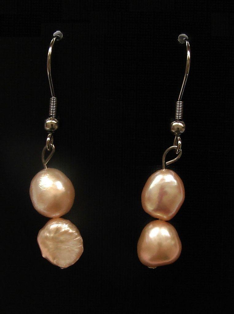 Náušnice perly barokové růžové (3)