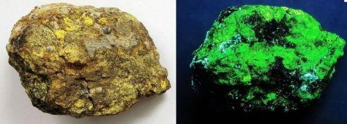 Minerál Natrozippeit na normálním světle a pod krátkovlnnou UV-lampou