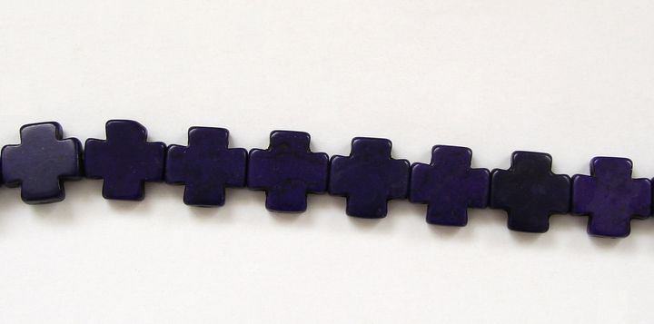 HOWLIT - korálek kříž indigo (1)