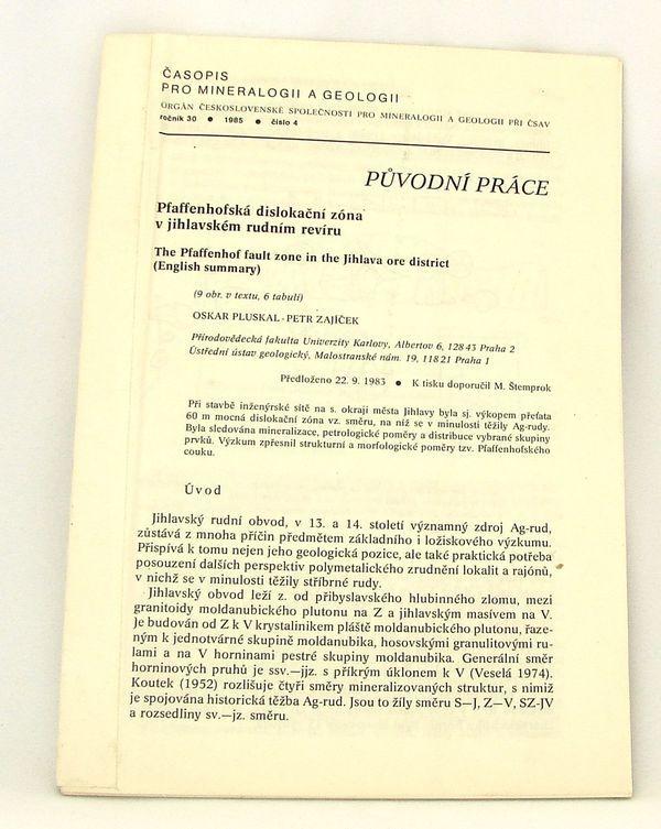 Pluskal, Zajíček - Pfaffenhofská dislokační zóna v jihlavském rudním revíru